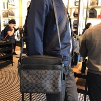 62436e8592970 กระเป๋าชาย coach แท้ % CHARLES CAMERA BAG IN SIGNATURE CANVAS COACH F28456  CHARCOAL BLACK BLACK ANT (1432947755)