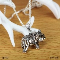 sp141 Solid .925 Sterling Oxidized Silver Elephant Head Pendant