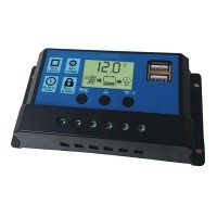 10//20//30A Solar Charge Controller 12V 24V LCD Display 1 USB Solar Panel Charger