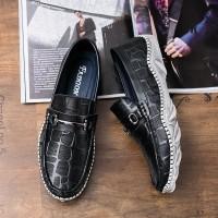 รองเท้าลำลองผู้ชาย Men Leather Shoes Crocodile Style Footwear Loafers Flats Soft Moccasins Driving (1080129771